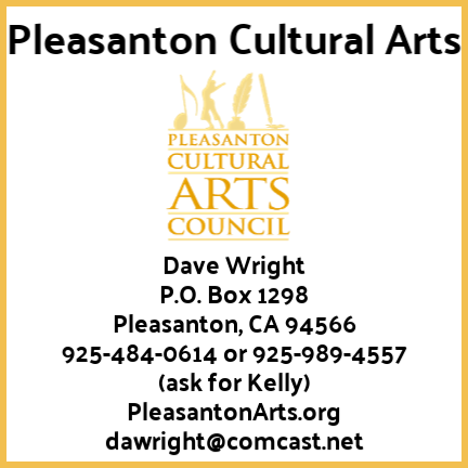 Pleasanton cutltural Arts Logo and contact information
